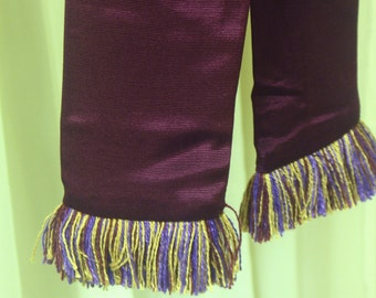 Purple Cotton/Rayon Faille Sash w/Purple, Gold, Burgundy Fringe for Pirate, Ren Faire