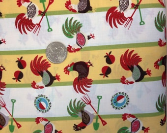 A yellow and white stripe home to roost fabric with lots of roosters in brown, white, and grey.