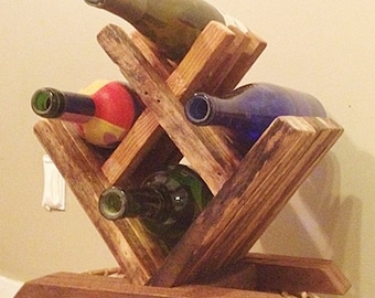 Wine Rack, Wood Wine Rack, Wine Rack Tabletop, Wooden Wine Rack, Countertop Wine Rack, Tabletop Wine Rack, 4 Bottle Wine Rack, Wine Storage