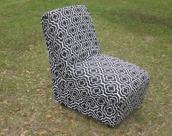 Chair, accent chair, black and white chair, reupholstered chair, upcycled, living room chair, bedroom chair, fabric chair