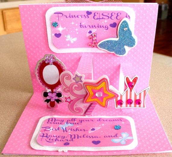 Princess card Pop up card Princess Pop up card Personalized – Personalized Kids Birthday Cards