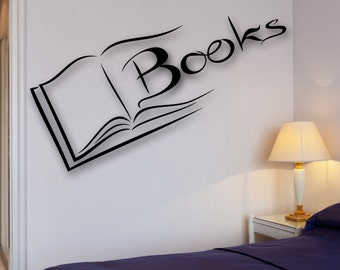 Books Wall Decal Reading Room Bookworm Library Science School University (ig2521)