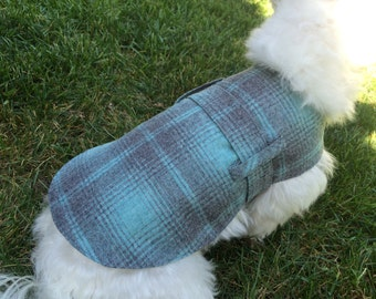 Blue Plaid Wool Dog Coat with diamond quilted lining and belt loops
