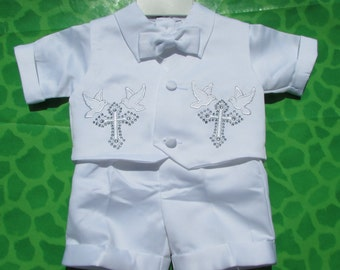 Free Shipping Baptism Christening Gown Baby Boy Dove Rhinestones Embroidered Cross Vestments Bow Tie Outfit 5 Piece Set