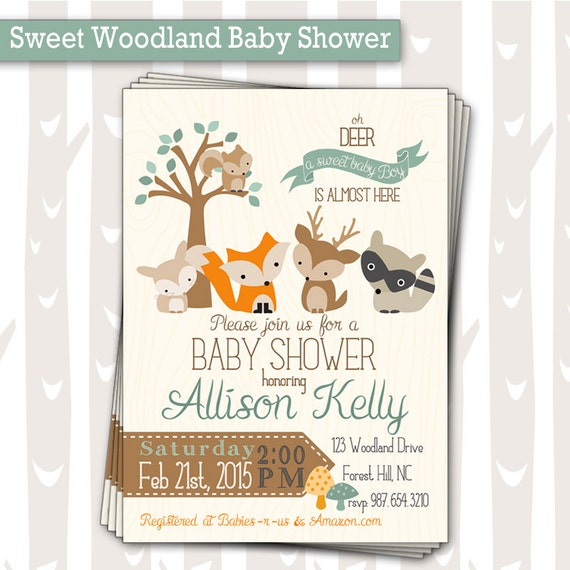 Sweet Woodland Baby Shower Invitation Baby Boy By InkyInvite