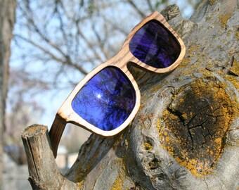 Zebrawood Blue Lens Wayfarer polarized wood sunglasses. Natural Handmade. Wedding Sunglasses