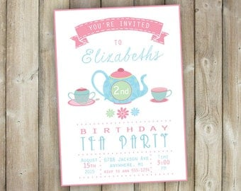 Tea Party Birthday Invitation - Girls Tea Party Invite - Digital File - Printable