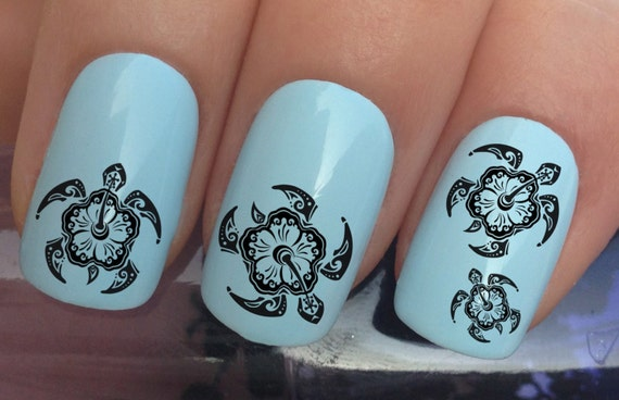 Nail decals 332 sea turtle caretta caretta tribal hibiscus nail decals 332 sea turtle caretta caretta tribal hibiscus flowers water transfers stickers manicure art set x24 from nailiciousuk on etsy studio prinsesfo Images