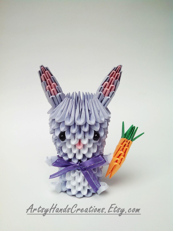 3d Origami Miniature Bunny 3d Origami by ArtsyHandsCreations - photo#30