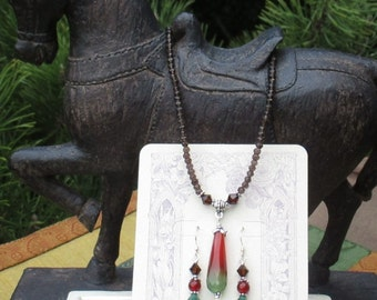 Faceted Autumn Agate Pendant Genuine Smokey Quartz SS Beaded Necklace SS Carnelian Beaded Swarovski Earrings Brown Smokey Quartz Jewelry Set