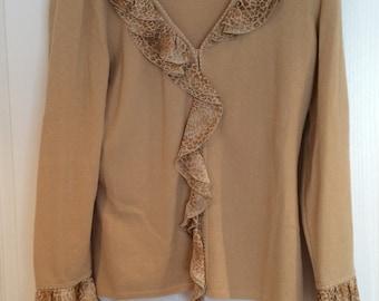 Escada - Beige/Camel Cardigan, with animal print collar and cuffs - Euro 38
