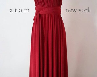 Ruby Red LONG Floor Length Ball Gown Infinity Dress Convertible Formal Multiway Wrap Dress Bridesmaid Dress Evening Dress