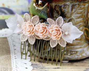 Resin Rose Hair Comb, Flower Hair Deco, Leaf Bridal HairComb, Cottage Wedding Jewelry, Bridesmaid HairPin, Unique Women Vintage Style Comb