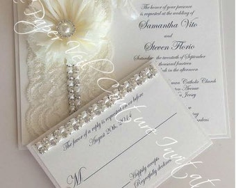 vintage shabby glitz glamour ivory and cream couture lace and garden flower wedding - Couture Wedding Invitations