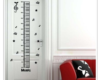 Piano key growth chart decal,growth chart wall decal,height chart decal,music note decal,music wall decal,music wall decal--19 colors