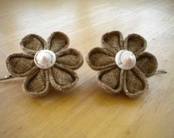 Two Kanzashi Flower.  Hair Bobby pins, Hair accessories, brown fabric flower, printed flower, girl bobby pin