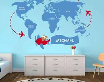 Nursery World Map - Kids - World Map Decal - World Map Wall Art - World Map - Wall Sticker - Kids Bedroom - Personalized Name