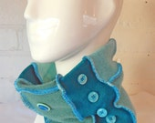 Neckwarmer Aqua Turquoise Emerald Green Upcycled Button Headband Beanie Tube Scarf Cowl made from Recycled Knitwear Wearable Art - One Size