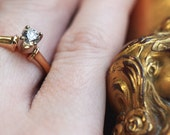 1930's engagement ring, high quality antique diamond and yellow gold ring