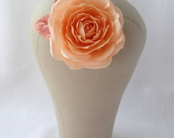 Vintage Peach Pure Silk Rose Hair Clip Corsage