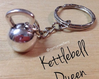 Kettlebell Queen Keyring Keychain Fitness gym weight