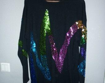 Di Bari   Angora & wool Italian sweater   Rainbow Sequins   size M / L