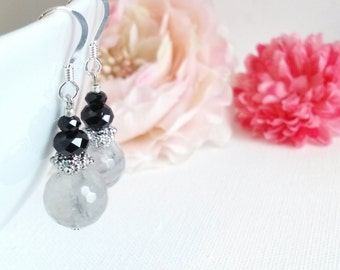 Gemstone Dangle Earrings, Cloudy Quartz Earrings, Wedding, Bridesmaid Jewelry, Gray,Gemstone Clip On, Nickel Free, Leverback Hypoallergenic