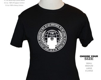 Anonymous T-Shirt - American Apparel, Canvas or Gildan - Black [S M L XL] - Internet Hacker Group - Expect Us!