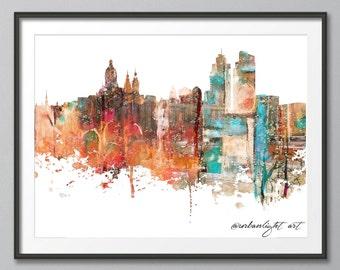 Amsterdam Skyline, Netherlands Skyline, Holland, Urban Silhouette, Cityscape, Art Print, Poster, Modern Art, Painting