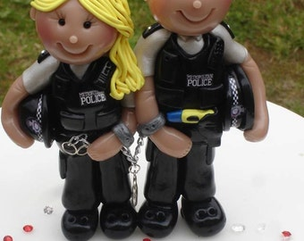 Police Cake Toppers personalised made of sculpey  by Jillybeans cake toppers