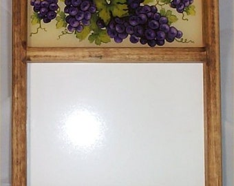 Tuscan Memo Board Grape Message Wall Decoration Glass & Eraseable Center