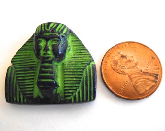 Rare vintage pendant stone (1) Egyptian Revival King Tut  beads cab cabochon Pharaoh carved lime  green chartreuse bead (1)