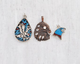 SALE! 3 Vintage Eagle Charms - silver tone with crushed inlaid turquoise and etched copper pendant