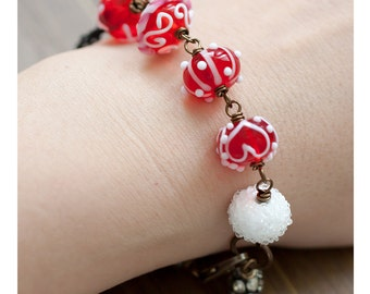 Valentine Red and White Heart OOAK Lampwork Bracelet, Valentine's Gift, Mother's Day Gift, BFF Gift, Birthday Gift for Her Mom Sister Aunt