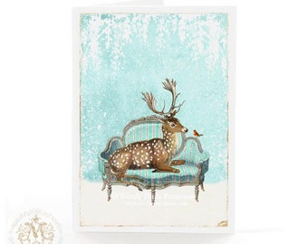 Deer, Christmas card, reindeer, French sofa, snow, robin, white Christmas, blue, holiday card, card for her, woodland, forest, blank card