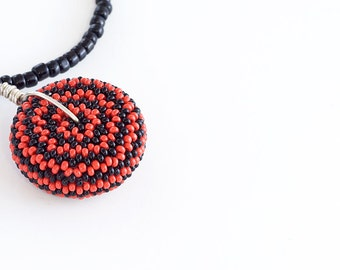 Beaded Bead Necklace // Red and Black // Clearance