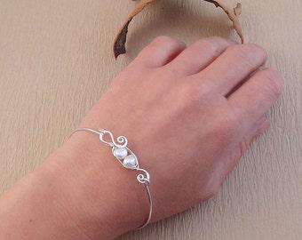 Pea Pod Bracelet Bangle - Baroque Pearl Bracelet - Peas in a Pod Bracelet - White Pearl Bangle Bracelet