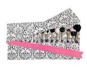 Large Makeup Brush Roll Holder Organizer, Damask, Black/White, Hot Pink Ribbon - In Stock Ready To Ship