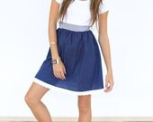 "Casual dress ""Steddy"" with blue and white polka dots"