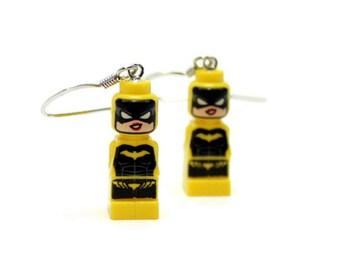 Batgirl Earrings made from Genuine Batman LEGO® Microfigs - RARE
