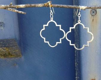 Sterling Silver Quatrefoil Gothic Window Earrings   Fashion Earrings