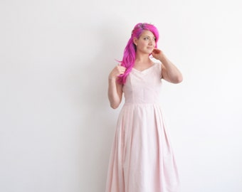 blush pink 1950 wedding dress . pastel mid century beaded gown .small .sale