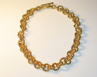 Vintage Gold Tone Rope Chain Large Link Necklace (N-2-4)