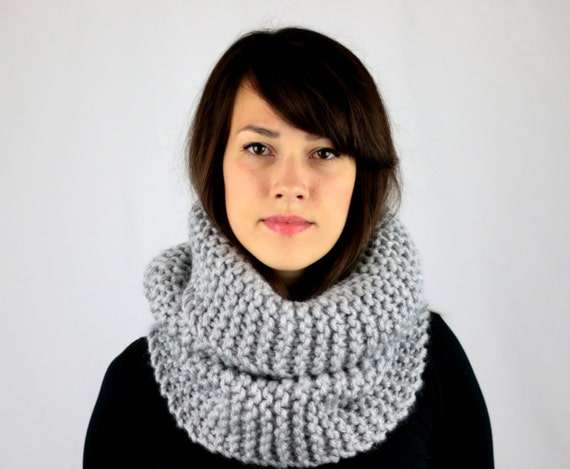 Hand Knit Cowl Scarf Womens Knitted Cowl Scarf Mens Cowl Gray Winter Fashion Winter Accessories