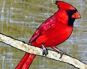 David-2d Mixed Media Cardinal Painting