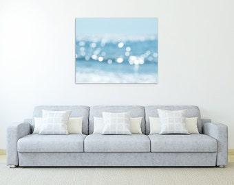 abstract beach photography canvas art nautical wall decor blue large wall art canvas wrap water bokeh photography canvas print beach decor