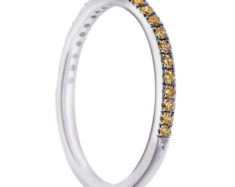 Fancy Champagne Diamonds Wedding Ring , Half Eternity Thin Band, Anniversary Stackable Band 14K White Gold 0.25 Carat Pave Set