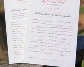 Wedding Mad Libs Advice Cards | Custom printed cards or customized printable PDF | wedding guest book alternative, simple flourish PBR001-ML
