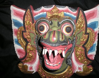 Gruesome Indonesia/Bali Barong Tribal Demon Ceremonial Wood Carved Face Mask Wall Decor Fab.Collectible Folkart