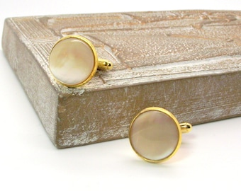 Golden Sands Natural Mother of Pearl Cuff Links – Men's Creamy Golden Taupe MOP Cuff Links – Soft Taupe Cuff Links - Round Pearl Cuff Links